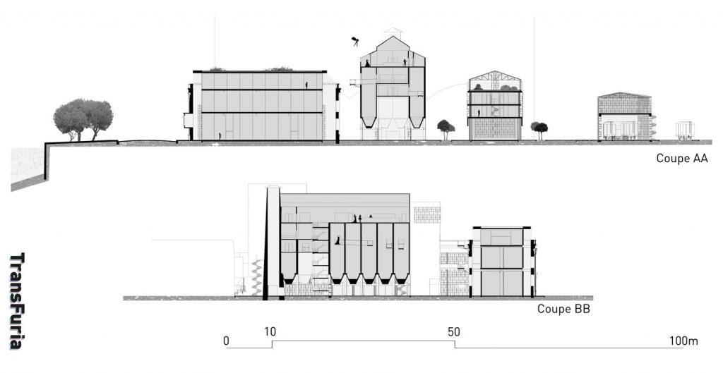 Les circulations différenciées – Le RDC libre, la tour de circulations et les passerelles extérieures.