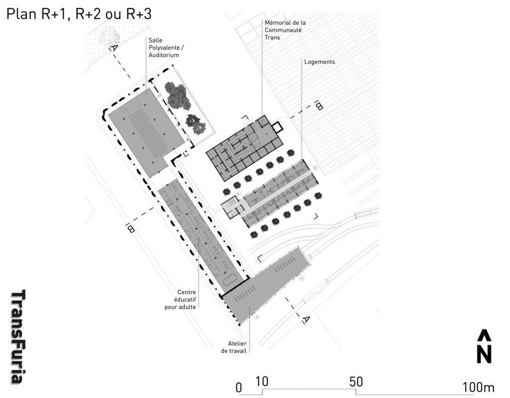 Les étages intermédiaires –  Le centre éducatif ; l'atelier du travail ; le mémorial ; les logements d'urgence ; le tout relié par des passerelles extérieures.