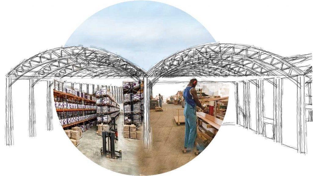 Croquis – collage : vue sur stockage & atelier