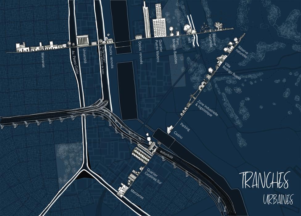 un terrain tranché par différentes infrastructures